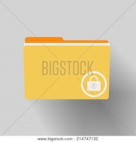 Yellow folder with locked icon. File data center security. Safe confidential information. Vector illustration