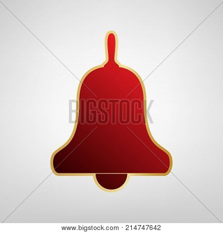 Bell Alarm, hand bell sign. Vector. Red icon on gold sticker at light gray background.