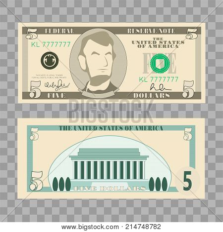 Dollar banknotes, us currency money bills - 5 dollar isolated on transparent background. Vector illustration in flat and cartoon style