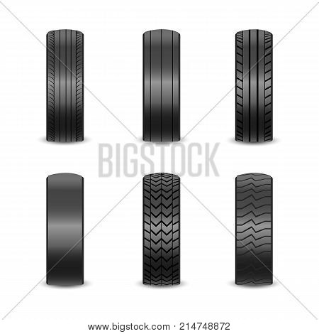 Realistic tires with different tread marks Auto black rubber tyre, illustration of car tyre for wheel on white background