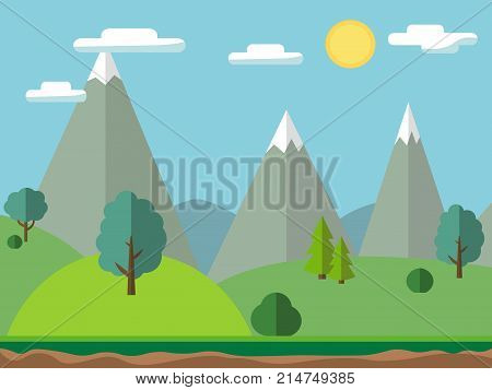 Pastoral landscape with mountains and trees. Summer outdoor meadow scene, vector illustration in flat and cartoon style