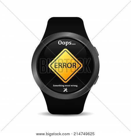 Smart watch with error sign on screen. Mistake in smart watch display. Service repair and maintenance of smart watch. Vector isolated illustration.