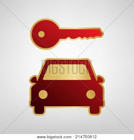 Car key simplistic sign. Vector. Red icon on gold sticker at light gray background.