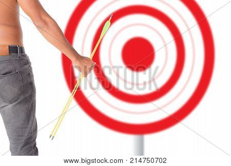 Asian Man Holding Bow And Shooting To Archery Target. Rear View, Businessman Aiming At Target With B