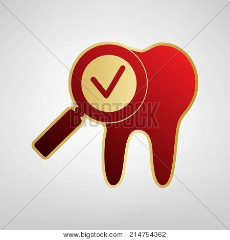 Tooth icon with arrow sign. Vector. Red icon on gold sticker at light gray background.