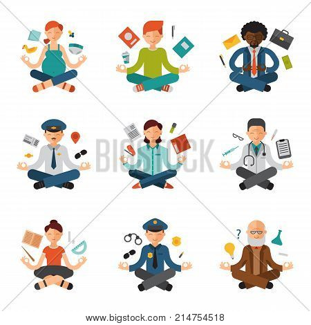 Meditation yoga vector people relax procedure different professions policeman, doctor, businessman and pilot relaxation lotus pose sitting meditative characters illustration.