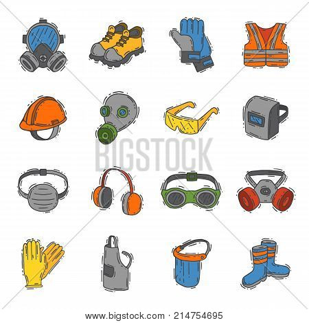 Vector protection clothing safety industry icons protective face and body equipment construction helmet, googles, mask and boots industrial mask for protect work life illustration.
