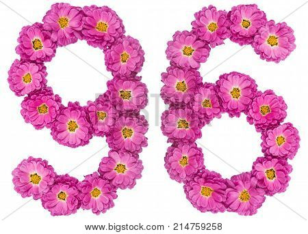 Arabic Numeral 96, Ninety Six, From Flowers Of Chrysanthemum, Isolated On White Background