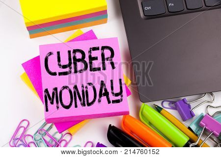 Writing Text Showing Cyber Monday Made In The Office With Surroundings Such As Laptop, Marker, Pen.