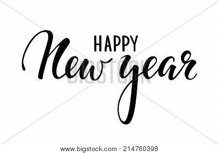 Happy New Year. Hand drawn creative calligraphy brush pen lettering. design holiday greeting cards and invitations of Merry Christmas and Happy New Year banner poster logo seasonal holiday.