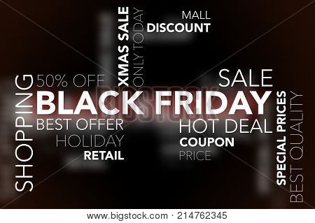Text cloud Black Friday with various keywords.