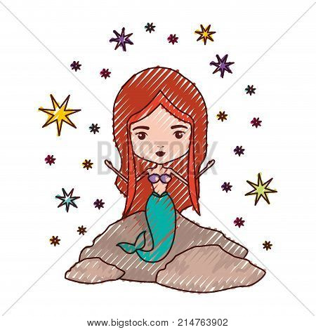 mermaid in a rock with stars in colored crayon silhouette vector illustration