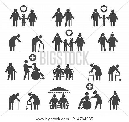 Retired people family. Senior parents and olds care silhouette icons isolated on white background vector icons
