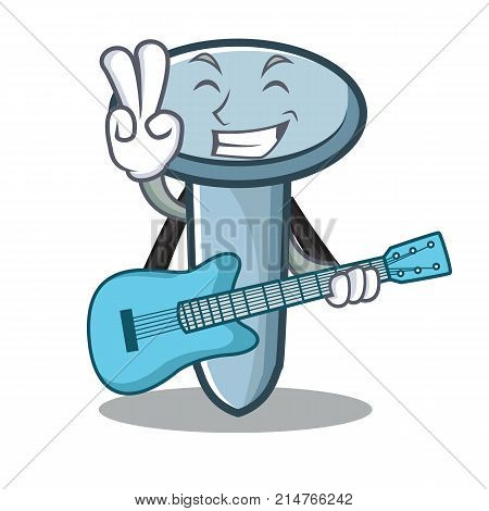 With guitar nail character cartoon style vector illustration