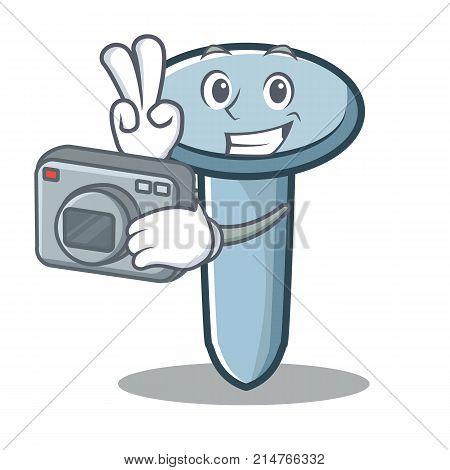 Photographer nail character cartoon style vector illustration
