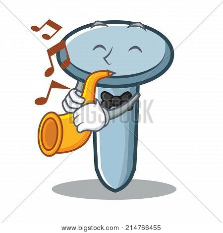 With trumpet nail character cartoon style vector illustration