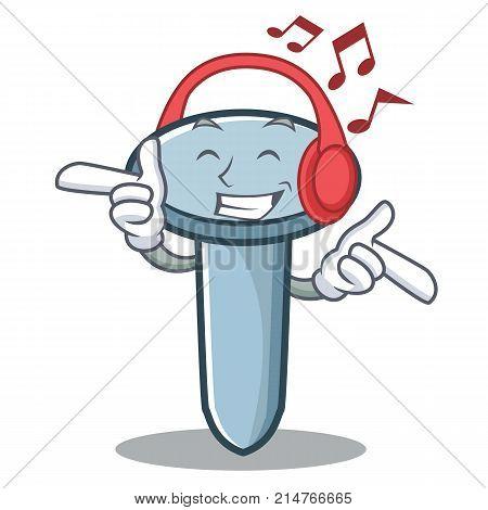 Listening music nail character cartoon style vector illustration