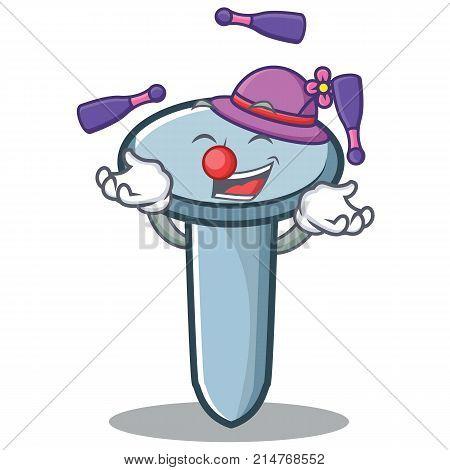 Juggling nail character cartoon style vector illustration poster