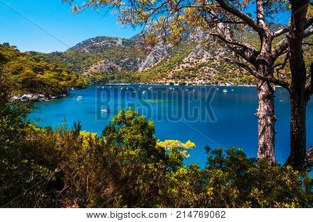 Oludeniz beach and blue clear water of Blue Lagoon in Aegean sea, Turkey