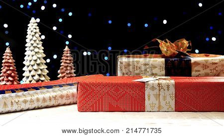 Stacking Modern Wrapped Christmas Gifts