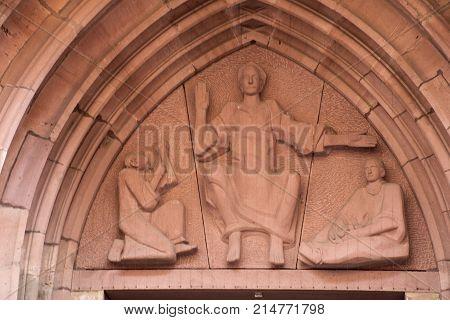 Statue Of Church Of The Holy Spirit Of Heidelberg At Heidelberger Market Sq