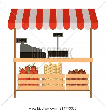 supermarket shelf with weighing machine and cash register and sunshade colorful with foods vector illustration