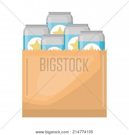 paper bag with canned beers vector illustration