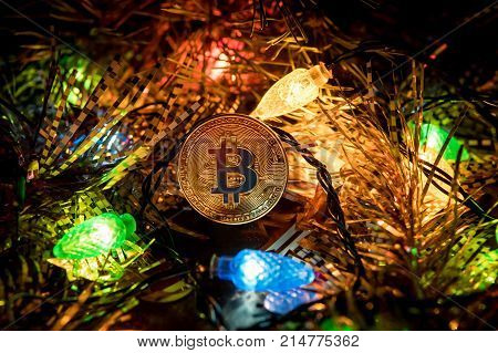 Gold Bitcoin Decoration On Christmas Tree