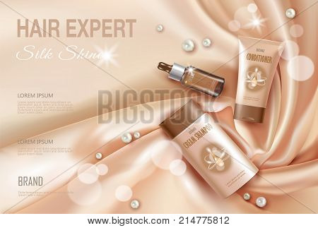 Hair cosmetic ad shampoo moisturizing conditioner serum. Light beige silk fabric water liquid drop flower sakura cherry blossom.3d realistic package poster banner template vector illustration art