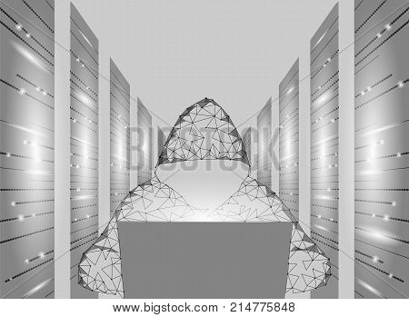 Internet security cyber attack business concept low poly. Anonymous hacker laptop computer gray white finance danger. Server room rack polygonal point line dot geometric design vector illustration art