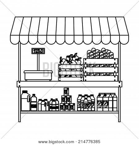 supermarket shelf with weighing machine and sunshade with foods and beverages in monochrome silhouette vector illustration