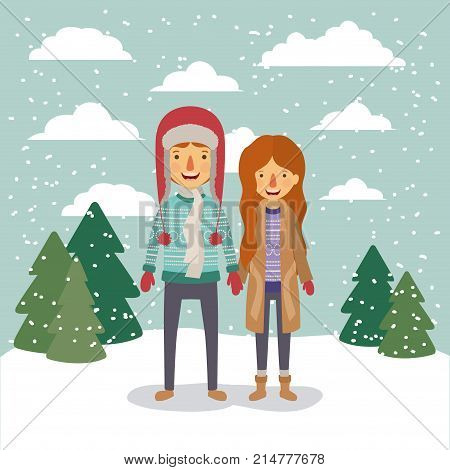 winter people background with couple in colorful landscape with pine trees and snow falling and him with sweater and cap of wool and her with fur coat vector illustration