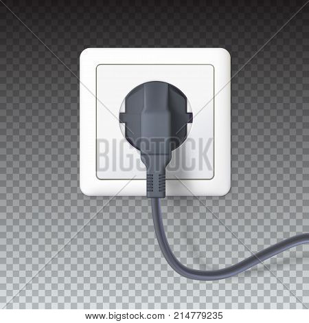 Realistic black plugs inserted in electrical outlet, isolated on transparent background. Electric plugs and socket. 3D illustration. Icon of device, connecting electrical appliances, equipment
