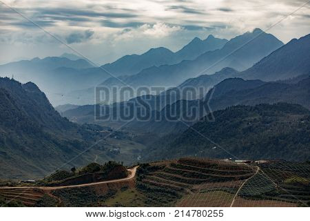 beautiful land scape of mountain range in sapa most popular traveling destination in northern of vietnam