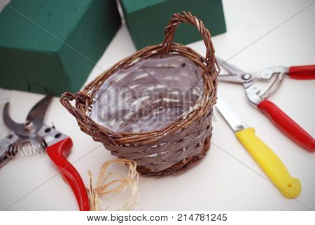 Composition of florist equipment tools with florist