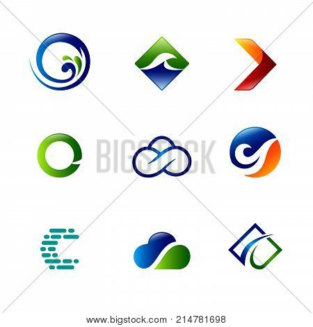 set modern logo 2D, Abstract logo. Water logo. Wave logo. Geometric logo. Water line logo. Nature logo. Nature elements logo. Water vector logo. Water energy logo