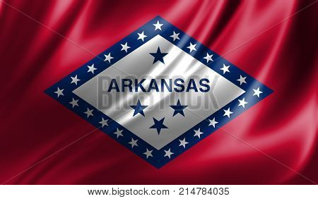 Flags from the USA on fabric ; State of Arkansas