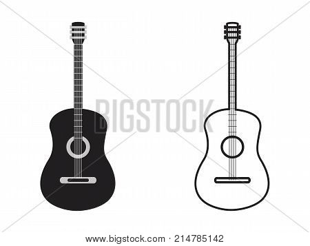 isolated classic guitar outline from white background