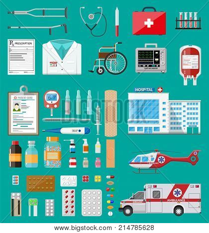 Medicine pills capsules, bottles and healthcare devices. Ambulance car and helicopter, hospital building. Healthcare, medical diagnostics. Urgency emergency services. Vector illustration in flat style