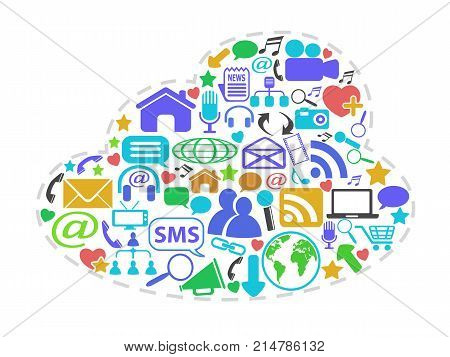 isolated color social network icons in cloud shape on white background