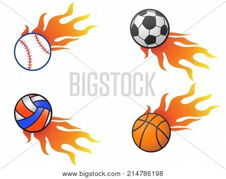 isolated color fire ball logo icons from white background