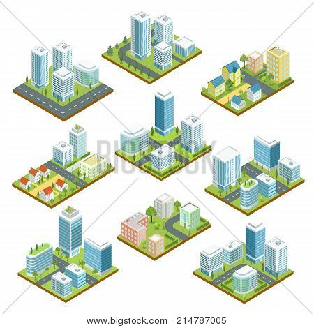 Modern downtown isometric 3D set. Skyscrapers, apartment, office, houses, streets and roads. City real estate, commercial property quarter, urban traffic. Low poly town buildings vector illustration.