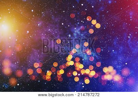 Background With Natural Bokeh And Bright Golden Lights. Vintage Magic Background With Color Festive background with natural bokeh and bright golden lights. Vintage Magic background with colorful bokeh. Spring Summer Christmas New Year disco party