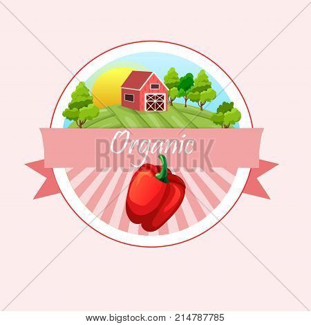 High quality vector illustration of Pepper or paprika label. symbol for sauce product label or grocery store, shop and farm market design. farm or ranch
