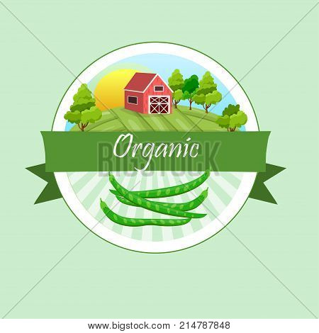 High quality vector illustration of beans label. symbol for sauce product label or grocery store, shop and farm market design. Farm on green meadow
