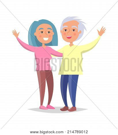 Senior couple wave hands vector illustration isolated on white background. Happy granny and grandpa cartoon characters in flat style