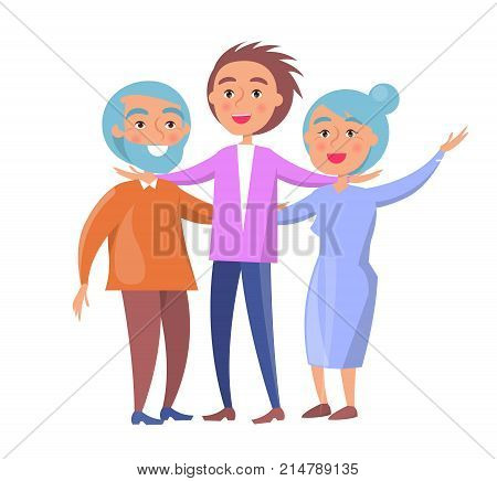 Happy mature family wife and husband and their grown up son vector illustration isolated on white. Family members cartoon characters