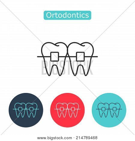 Teeth with braces image isolated on white background. Orthodontic braces thin line icon for web and mobile, modern minimalistic flat design. Editable stroke. Vector illustration.