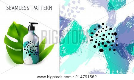 Summer seamless patterns demonstrated on mockup installation with bottle. Can be used for embroidery print or silkscreen on fabric. eps10