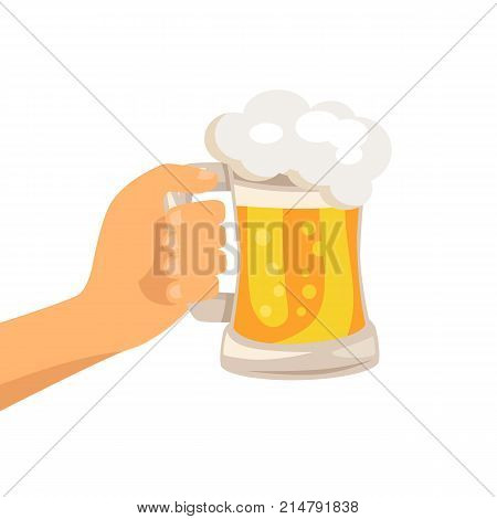 Hand with traditional glass of beer with white foam and bubbles vector isoated illustration. Light alchoholic beverage in transparent mug with handle